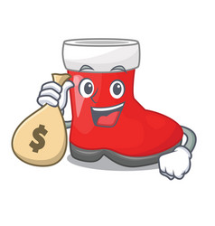 With money bag christmas santa boots with shape vector