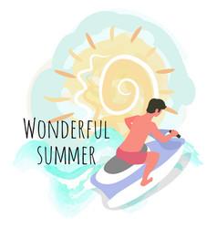Wonderful summer time man riding scooter jet ski vector