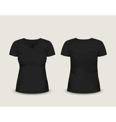 Black V-neck t-shirt template vector image