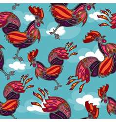 crowing rooster seamless vector image