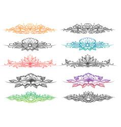 floral divider big set vector image vector image