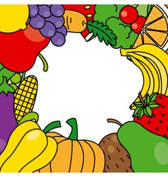 fruits and vegetables frame vector image