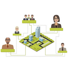 isometric city infographic vector image vector image