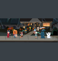 kids wearing monsters costumes walking in town vector image