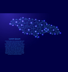 map of jamaica from polygonal blue lines and glowi vector image vector image