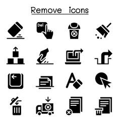 remove erase delete icon set vector image vector image