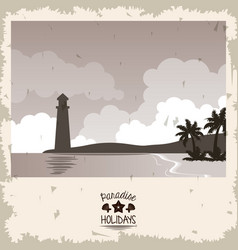 Sepia color poster seaside with lighthouse and vector