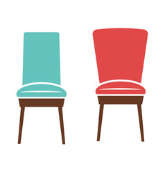 soft comfortable chairs with wooden legs isolated vector image