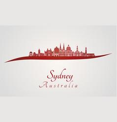 Sydney v3 skyline in red vector