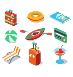 Travel Objects Icon Set Flat 3d Isomectric Modern vector image vector image