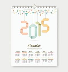 Calendar 2015 Paper origami number template design vector image vector image