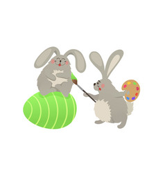 easter bunnies collection vector image