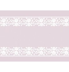 Lace border on pink vector image