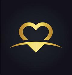 love heart valentine gold logo vector image