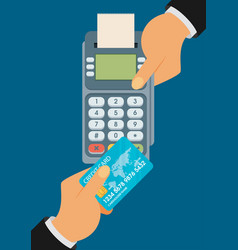 Pay merchant hands credit card flat vector