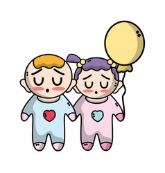 tender babies children with clothes and balloon vector image