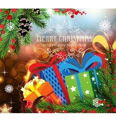 Christmas gifts on sparkling background vector