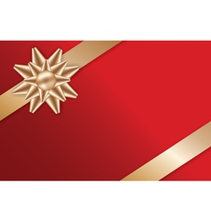 Festive Golden Bow on red background vector image vector image