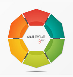 polygonal circle chart infographic template with 6 vector image