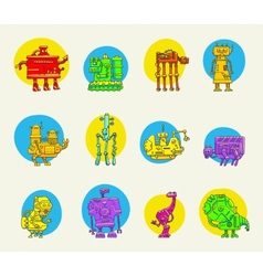 set of funny robots vector image vector image