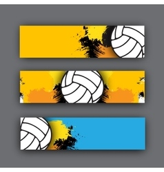 collection of banners volleyball theme vector image vector image
