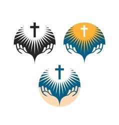 Crucifix symbol crucifixion of jesus christ icons vector