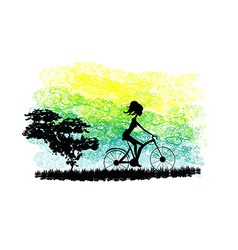 Cycling Poster with silhouette Girl vector image vector image