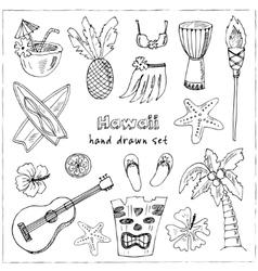 Hawaii Symbols and Icons including Hula skirt vector image