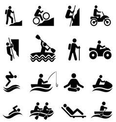 Outdoor Leisure Activies and Recreation Icons vector image