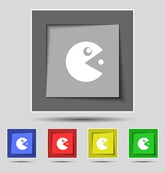 pac man icon sign on original five colored buttons vector image vector image