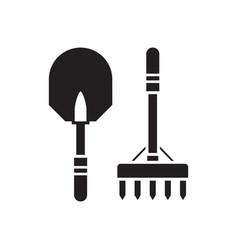 shovel and rake outline icon vector image vector image