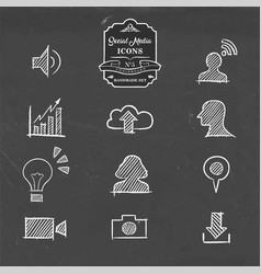 social media icon set in hand drawn sketch style vector image