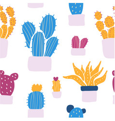 succulents and cacti plants seamless pattern vector image