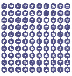 100 snow icons hexagon purple vector