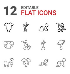 12 infant icons vector image