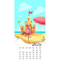 2021 calendar july funny cartoon castle image vector