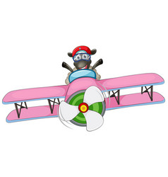 a sheep riding airplane vector image