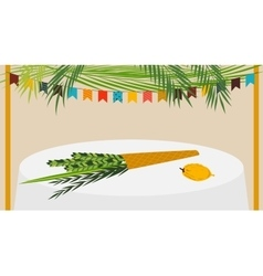 A Sukkah decorated with vector