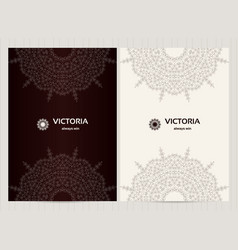 a4 format cards decorated with mandala in black vector image