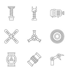 Auto parts icon set outline style vector