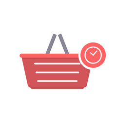 basket buy delay shop shopping time icon vector image