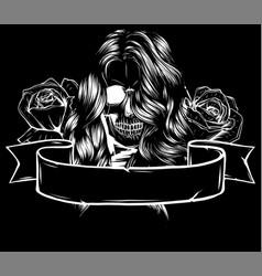 Beautiful woman head with roses decoration vector
