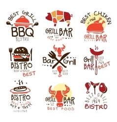 Best Grill Bar Promo Signs Set Of Colorful vector