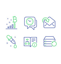 bitcoin graph chemistry pipette and clock icons vector image