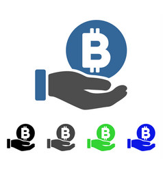 Bitcoin payment hand flat icon vector
