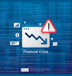 Business finance crisis concept with alert vector