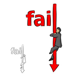 businessman holding falling arrow of the red word vector image