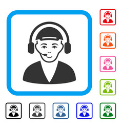call center operator framed joyful icon vector image vector image