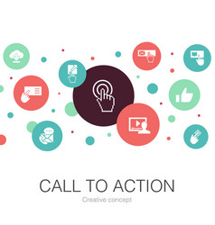 Call to action trendy circle template with simple vector