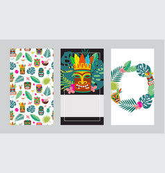 cards or invitations set for tiki bars or party vector image